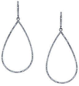 Sheryl Lowe Open Pave Diamond Teardrop Earrings