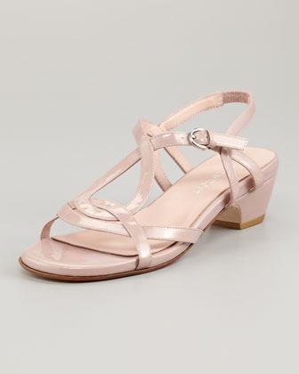 Taryn Rose Odele Low-Heel Patent Sandal, Dusty Pink