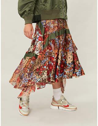 Sacai Floral-print crepe skirt