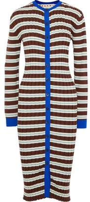 Marni Striped Ribbed Cotton-blend Cardigan