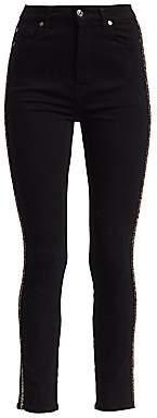7 For All Mankind Women's Aubrey High-Rise Caviar Racing Stripe Skinny Jeans