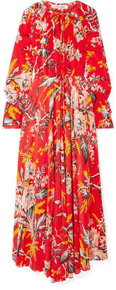 Diane von Furstenberg Bethany Floral-print Silk Crepe De Chine Maxi Dress - Red