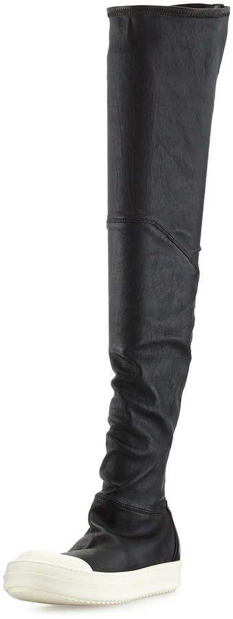 Rick Owens Leather Over-the-Knee Stretch Boot, Black