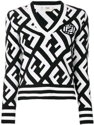 Fendi logo V-neck sweater