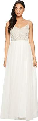 Adrianna Papell Women's Beaded Bodice Spaghetti Strap Mesh Bridal Long Dress