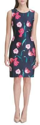 Tommy Hilfiger Sleeveless Scuba Tulip-Print Sheath Dress
