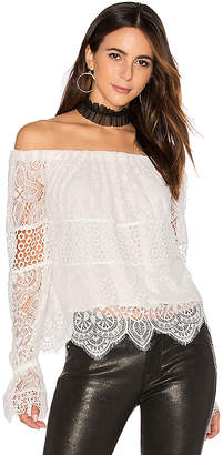 KENDALL + KYLIE Off Shoulder Lace Top in White $178 thestylecure.com