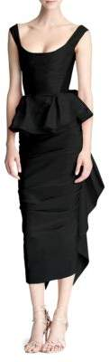 Marchesa Taffeta Draped Ruffle Dress