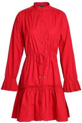 Saloni Gathered Stretch-cotton Poplin Mini Dress