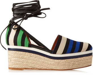 LANVIN Striped canvas espadrille wedge sandals $790 thestylecure.com