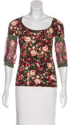 Just Cavalli Floral Print Long Sleeve Top