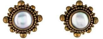 Stephen Dweck Mother of Pearl Doublet Clip-On Earrings