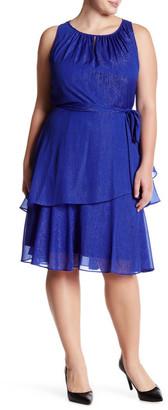Tahari Metallic Chiffon Sleeveless Dress (Plus Size) $138 thestylecure.com