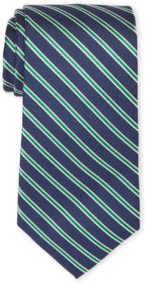 Tommy Hilfiger Green & Navy Stripe Silk Tie