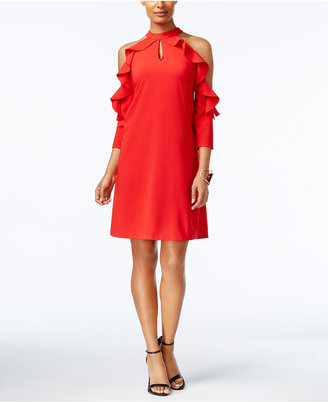 ECI Ruffled Cold-Shoulder Shift Dress $80 thestylecure.com