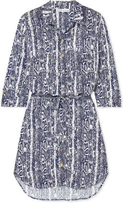 Heidi Klein Belted Snake-print Voile Mini Dress - Blue