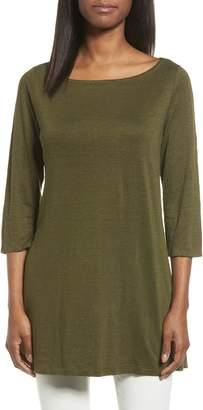 Eileen Fisher Bateau Neck Organic Linen Tunic
