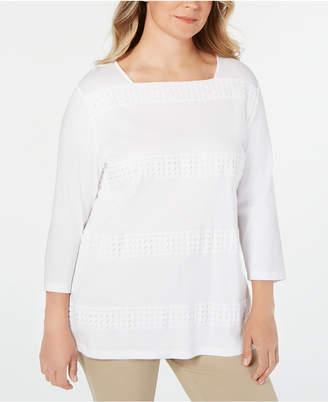 Karen Scott Plus Size Cotton Crochet-Trim Top