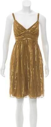Milly Silk Metallic-Trimmed Mini Dress