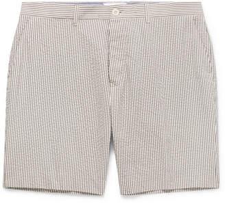 Mr P. Blue Striped Cotton-Seersucker Shorts