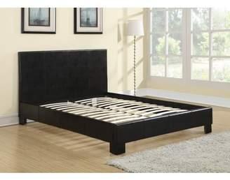 Master Furniture Twin Faux-Leather-Platform-Bed-Frame-amp-Slats-Upholstered-Headboard