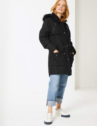 Marks and Spencer PETITE Faux Fur Parka with Stormwear