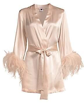 Gilda and Pearl Women's Mia Feather-Trim Stretch-Silk Robe