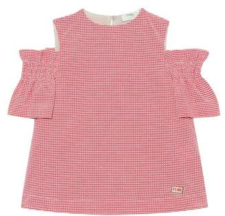 Fendi Gingham checked cotton-blend top