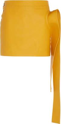 J.W.Anderson Asymmetric Ruffled Leather Mini Skirt