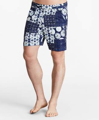 "Brooks Brothers Newport 7"" Indigo Patchwork Swim Trunks"