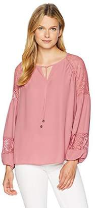Ella Moon Women's Standard Keyhole tie Neck lace Shoulder Panel Blouson Sleeve top