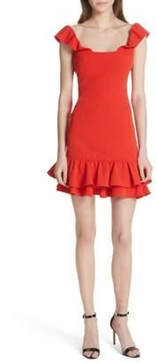 Milly Savannah Ruffle Crepe Minidress