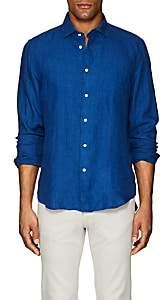 Hartford Men's Linen Chambray Shirt - Blue