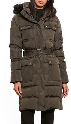 Lauren Ralph Lauren Faux Fur Trim Hooded Down & Feather Fill Utility Coat $320 thestylecure.com