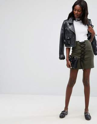 Asos DESIGN Mini Skirt with Lace Up Corset Detail