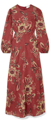 Zimmermann Juno Floral-print Linen Maxi Dress