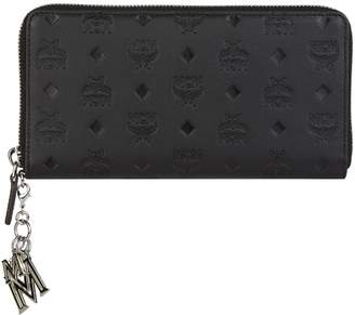 MCM Klara Zip-Around Monogram Charm Wallet