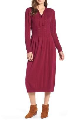 Treasure & Bond Tie Neck Cotton Blend Sweater Dress