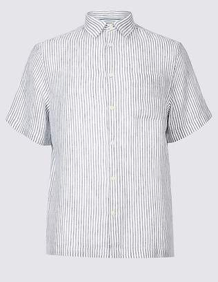 Marks and Spencer Pure Linen Striped Shirt with Pocket