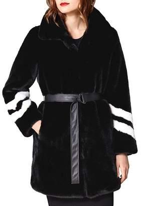 Karen Millen Striped-Sleeve Faux Fur Coat