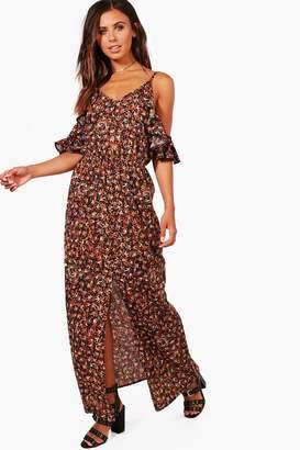 boohoo Petite Cold Shoulder Printed Maxi Dress