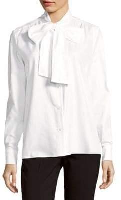 Petersyn Olivia Cotton Bow-Neck Shirt