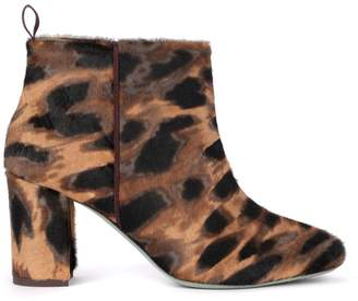 Paola D'arcano Spotted Cow Hair Effect Leather Ankle Boots