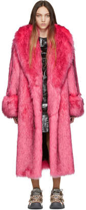 Gucci Pink Faux-Fur Oversized Coat