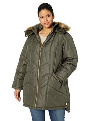 Details Women's Plus Size Knee-Length Winter Coat with Faux Fur Trimmed Hood 2X