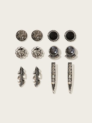 Shein Feather & Flower Rhinestone Stud Earrings 6pairs