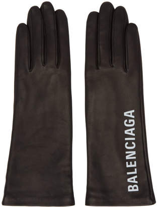 Balenciaga Black Leather Gloves