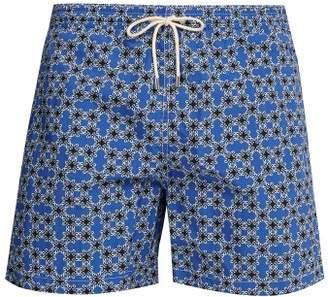 Le Sirenuse Le Sirenuse, Positano - Micro Pattern Printed Swim Shorts - Mens - Blue Multi