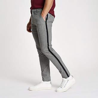 River Island Grey check skinny fit tape chino pants