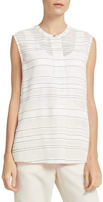 Donna Karan Women's Striped Sleeveless Henley Top - White-black, Size xl